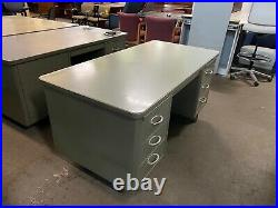 VINTAGE/OLD STYLE TANK DESK by STEELCASE OFFICE FURNITURE in GRAY METAL