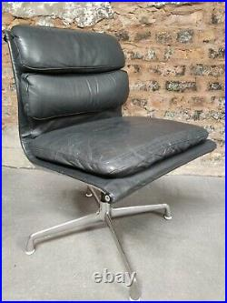 VINTAGE ORIGINAL CHARLES EAMES LEATHER SOFT PAD CHAIR FOR ICF 1970s