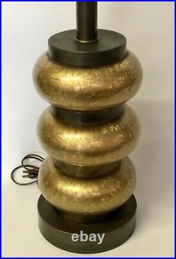 VINTAGE PAUL HANSON GOLD CRACKLE LAMP HOLLYWOOD REGENCY 1950s MID CENTURY MODERN