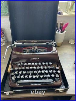 VINTAGE RARE! Maroon Red Corona Sterling Portable Typewriter 2A Model Serviced