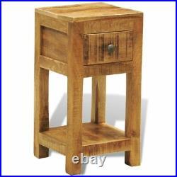 VidaXL Solid Mango Wood Side End Table Storage Cabinet Nightstand 1 Drawer