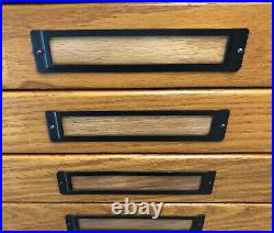 Vintage 10 Drawer Oak Flat File Cabinet (2 Sections) (LOCAL PICk UP ONLY)