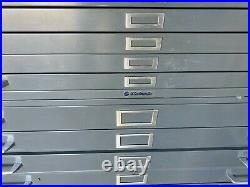 Vintage 12 Drawer Flat file Blueprint Cabinets 42 w with base