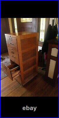 Vintage 1900s Mission Oak Antique Wood FILE CABINET 54H x 19.5W x 25D