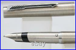 Vintage (1980) Parker 105 Brushed Stainless Steel Medium Fountain Pen, CT