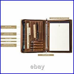 Vintage 3-Ring Binder Portfolio, Handmade Crazy-Horse Leather Legal Pad/Notepad