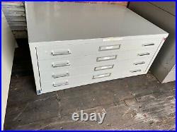 Vintage 4 Drawer Flat file Blueprint Cabinets 41 w