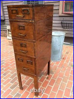 Vintage 5 Piece Metal File Cabinet FAUX WOOD GRAIN finish On Metal Very Good