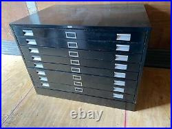 Vintage 8 Drawer Flat file Blueprint Cabinet with base 47 w