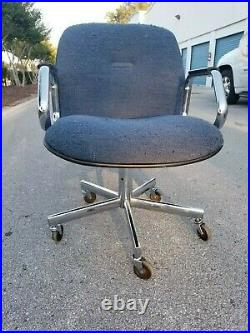 Vintage All-Steel 1950s 1960s Blue Cloth Office Chair Industrial Desk Task 60s