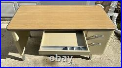 Vintage All-Steel Inc. Industrial Light Tan Metal Tanker Desk Drawers Right