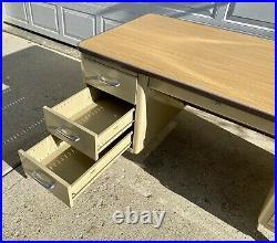 Vintage All-Steel Inc. Industrial Light Tan Metal Tanker Desk Two Sets Drawers