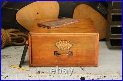 Vintage Antique Industrial Advertising Oak Butler Paper Box File Cabinet Drawer