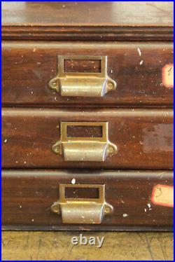Vintage Antique Industrial Oak Brass Handle Paper File Cabinet 3 Drawer 1920s