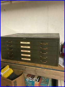 Vintage Army Green Steel Flat File Map and Blueprint Cabinet by Steel Age