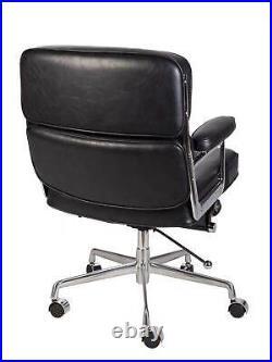 Vintage Black Executive Soft Pad Office Desk Chair Swivel Aluminium Mid Back