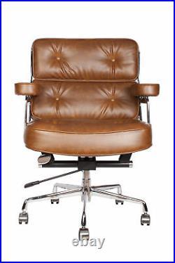 Vintage Brown Executive Soft Pad Office Desk Chair Swivel Aluminium Mid Back