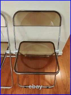 Vintage Clear Smoke Giancarlo Piretti Plia Castelli Folding Chair