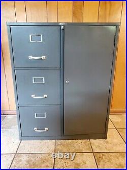 Vintage Cole Steel File Cabinet Combination Lock Battleship Grey 3 Drawers Shelf