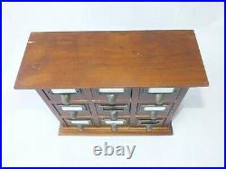 Vintage Desktop 9 DRAWERS Wooden collectors Filing Storage Office School Antique