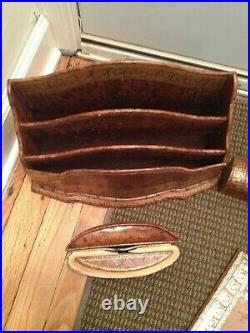 Vintage Dunhill Paris Collection Continental Gilt Leather Desk Set Accerssories