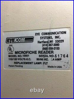 Vintage'EYECOM 1000' Microfiche Microslide Reader Viewer