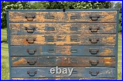 Vintage Flat File Map Cabinet Antique 11 Drawer wood Apothecary Art Blueprint