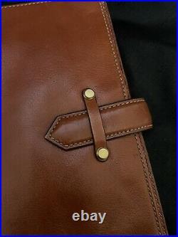 Vintage Franklin Covey Aurora Cognac Classic Leather Planner Binder Tote