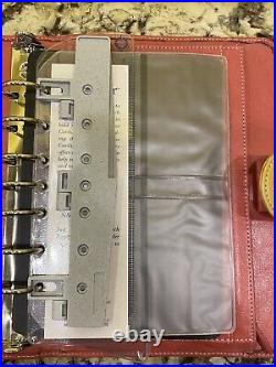 Vintage Franklin Covey GIADA Crushed Peach Compact Planner Binder EUC Stripe
