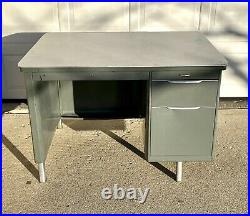 Vintage GF Industrial Gray & Chrome Metal Tanker Desk