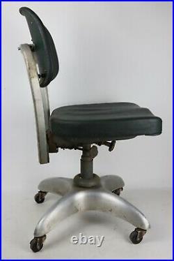 Vintage Goodform Mid Century Green Aluminum Metal Rolling Office Chair Propeller