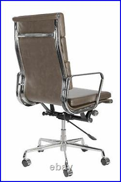 Vintage Grey Leather Soft Pad Office Desk Chair Swivel Aluminium Frame High Back