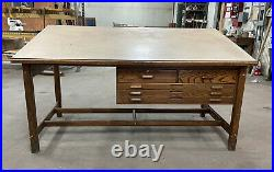 Vintage HAMILTON Oak drafting table 1950. Good Condition. Craft Table, Quilting