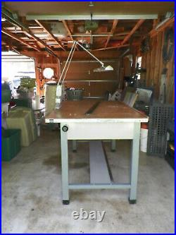 Vintage Hamilton Drafting Table Steel Base withTilting Wood Top Pickup Only