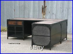Vintage Industrial Desk. Steel and Reclaimed Wood. Modern. Urban. Custom