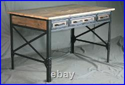 Vintage Industrial Desk with Drawers. Reclaimed Barn Wood and Steel. Rustic
