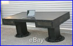 Vintage Industrial Desk with drawers. Steel. Mid Century Modern. Office, executive