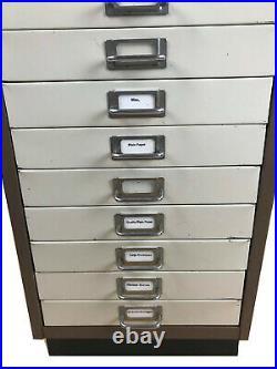 Vintage Industrial Metal Filing Cabinet, Shelf Drawer, Label Pull Handle Box