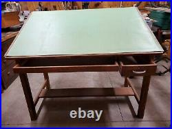 Vintage Industrial Wood Drafting Table With Tilt Top by Mayline