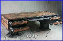 Vintage Industrial Wooden Desk with Drawers. Reclaimed Wood Desk with Storage
