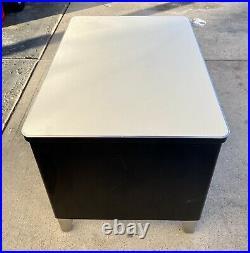 Vintage Invincible Furniture Co. Industrial Black & Chrome Metal Tanker Desk