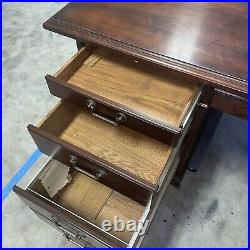 Vintage Kimball Solid Office Executive Wood Double Pedestal Pullout Drawers Desk