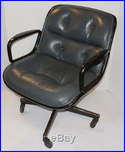 Vintage Knoll Pollock Executive Gray Leather Chair! Arms! Casters! Black Back