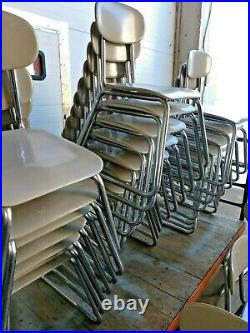 Vintage Lot Of 28 Grey Sled Base Stacking Chairs 15-1/2-16 Seat School Chairs