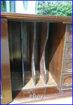Vintage Mahogany Desk Table Top 4 Drawer Filing Cabinet Letter Rack Pigeon Hole