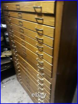 Vintage Mayline 18 Drawer Oak Flat File