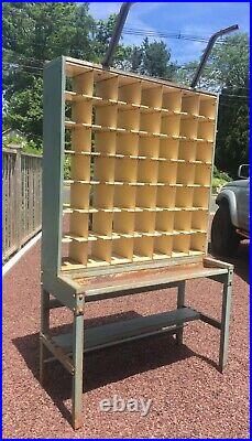 Vintage Metal Post Office Mail Sorter with 49 Slot Cubby Organizer Storage