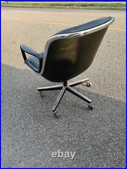 Vintage Mid-Century Modern Knoll Pollock Executive Chair Chrome Black Leather