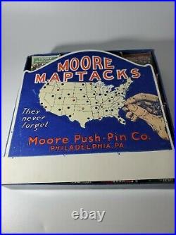Vintage Moore Map Tacks New Old Stock Full Store Display Philadelphia, PA. RARE