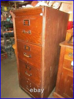 Vintage Oak File Cabinet 4 Drawer Legal Oak